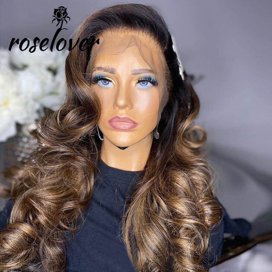 Roselover 13*4 peruca dianteira do laço 150% 1b/30 pré arrancado linha fina com o cabelo do bebê longo wavys perucas brasileiras do cabelo humano para a mulher
