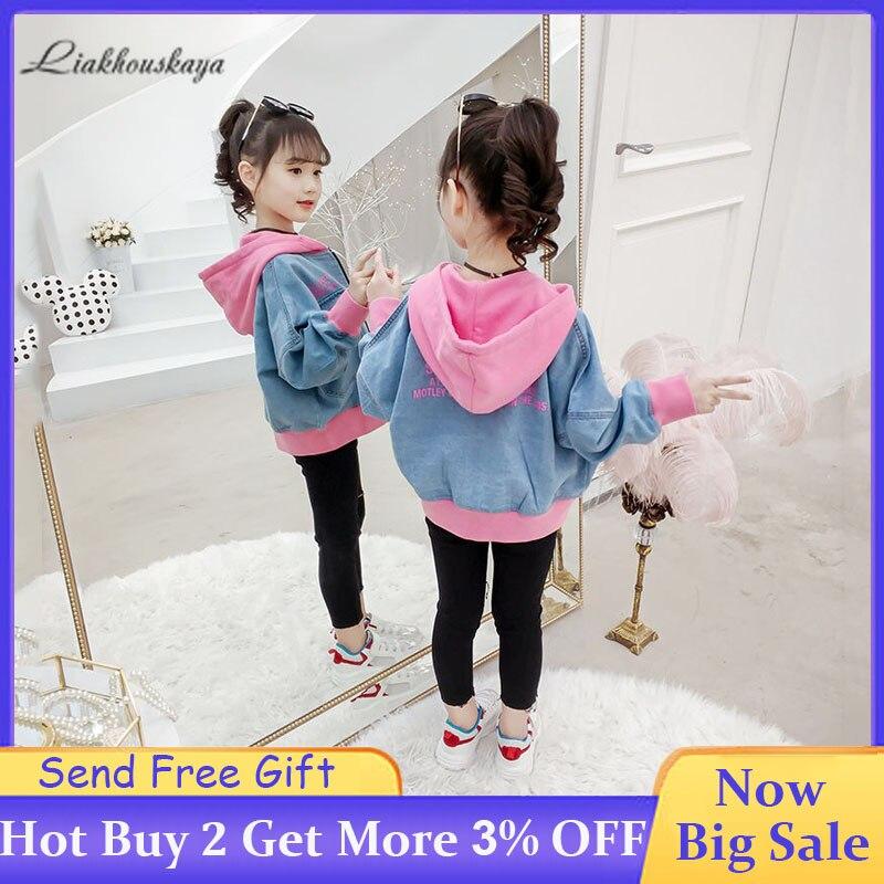 2019 Girls Denim Jacket 2019 Youth Spring Korean Casual Jacket Hooded Denim Cardigan Jacket Girls Zipper Coat Coat 3-14 Years