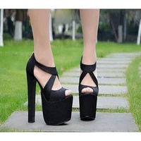 model shoes sandals thick heel 18cm nightclub spring summer 2021 new sexy hate sky high super high heel womens shoes