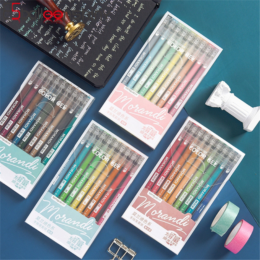 BalleenShiny 9PCS Colors Gel Pen Kids Drawing Art Pens Multi Color Marker Liner 0.5mm Ballpoint Stationery Gift Office School south korean fresh and lovely broken beautiful small office marker pen 10 color gel pens kit