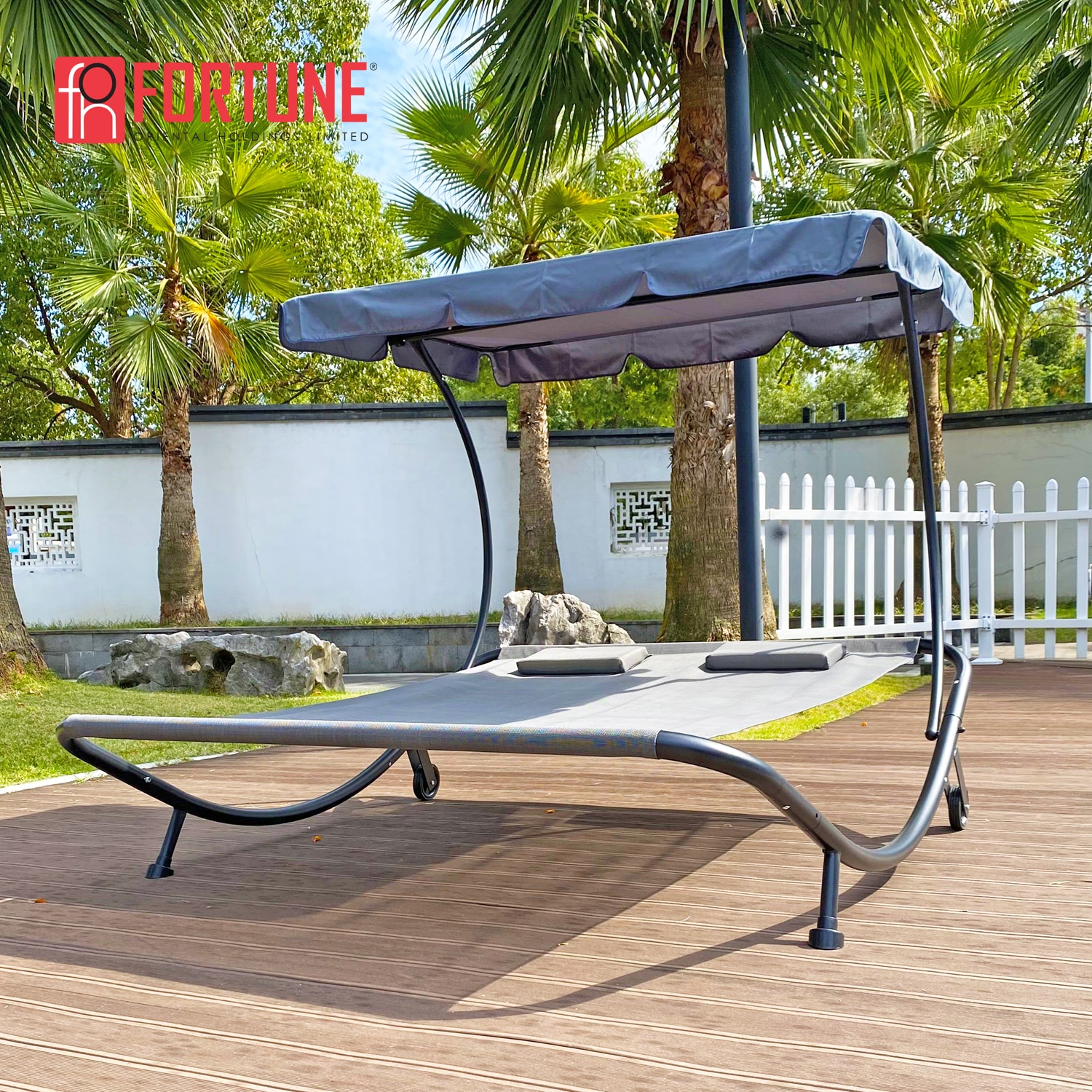 Outdoor Furniture Bed Portable Double Chaise Lounge Bed Garden Adjustable Canopy Oxford Cloth Sun Bed Courtyard, Poolside,Beach