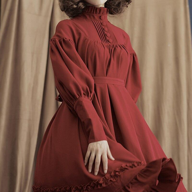 Cute Princess Dresses Fashion Women Mini Dress Long Sleeve Loose Puff Sleeve Solid Color Female Clothing Gothic Lolita Dresses