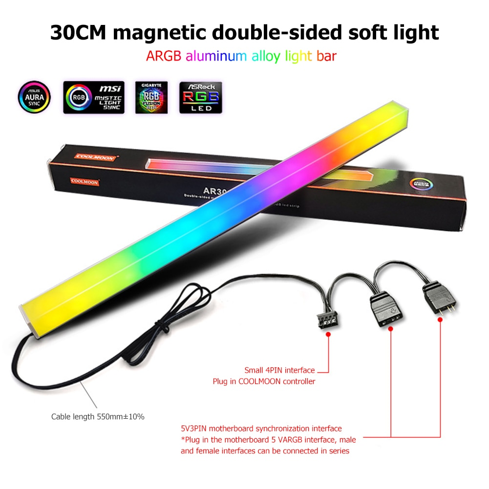 Фото - Coolmoon 30cm RGB LED Strip 5V 3Pin ARGB Computer Case Light Bar Aluminum Alloy Magnetic Small 4 Pin Light-Strip for PC Case coolmoon rgb controller 4pin pwm 5v 3pin argb cooling fan smart intelligent remote control for pc case chassis