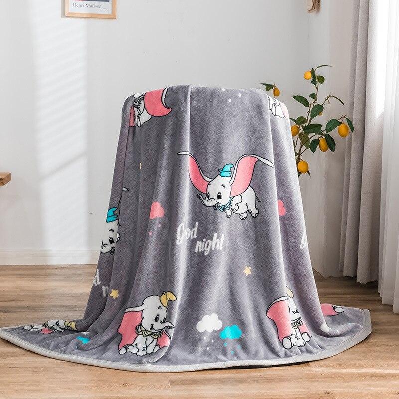 Manta gris de elefante y unicornio Dumbo, Sábana plana súper Franela suave, fundas para dormir para bebés, colcha para niños, doble Rey reina