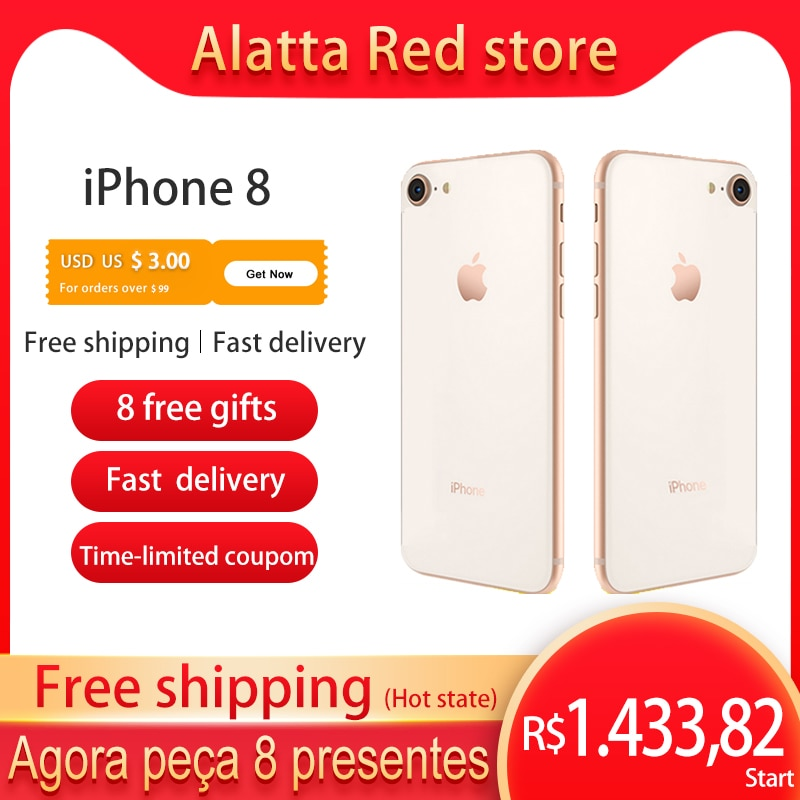 Genuine Original Unlocked Apple Used iPhone 8 4.7 inch Global version IOS iphone8 cellphone NFC ROM 64gb/256GB Smartphone