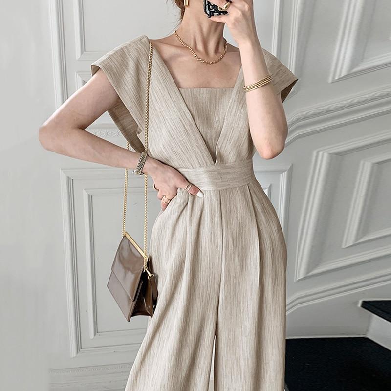 Chic South Korea Summer Dress Light Mature Style Unique Square  Design Versatile High Waist Wide Leg