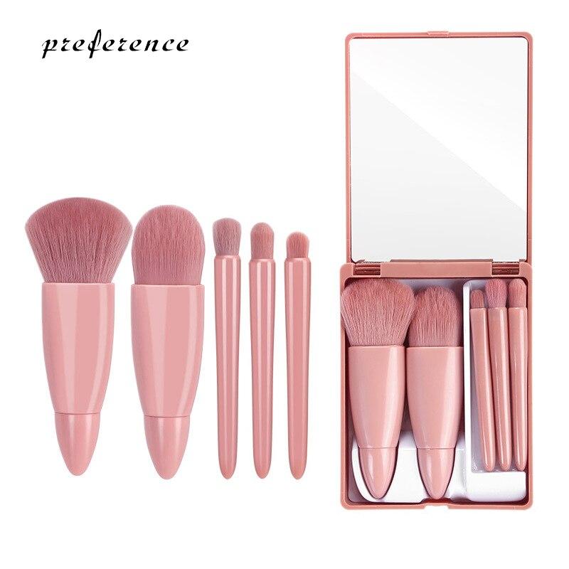 Makeup Brushes Set Portable 5Pcs Multi-Function Set With Mirror Soft Hair Loose Powder Brush Blush F