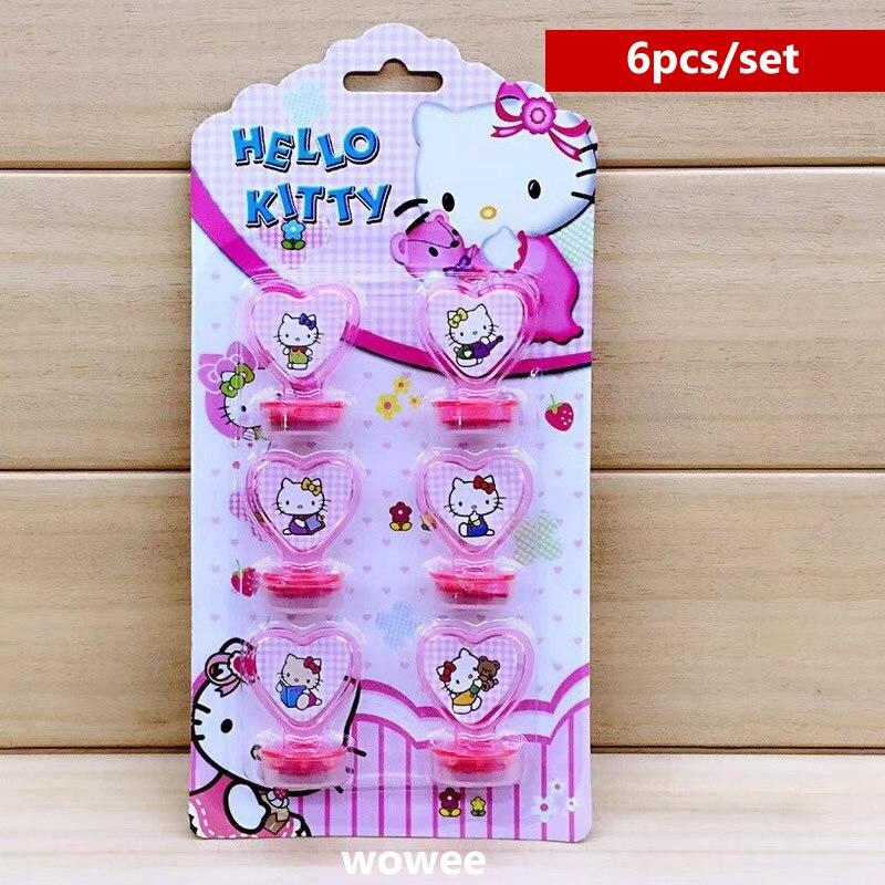 Conjunto de 6 unidades de sellos de hello kitty, suministros para fiesta, diario DIY para niños, pintura decorativa, decoración de colección de recortes