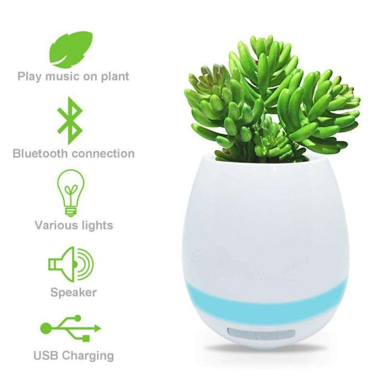 Caliente 3 en 1 Altavoz Bluetooth inalámbrico música maceta luz de noche impermeable USB cargador para la decoración de la sala de oficina