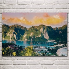 Phi Inseln gruppe natur seascape Thailand Krabi landschaft wohnzimmer decor home art dekoration holz rahmen stoff poster KM755