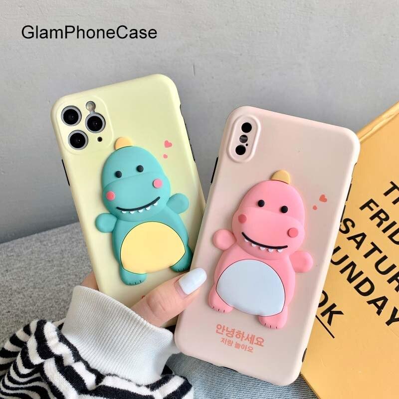 Funda de teléfono GlamPhoneCase 3D Pink-green Dinosaur para iPhone11Pro/Max X XS Max XR funda de silicona suave para iPhone11 7 8Plus