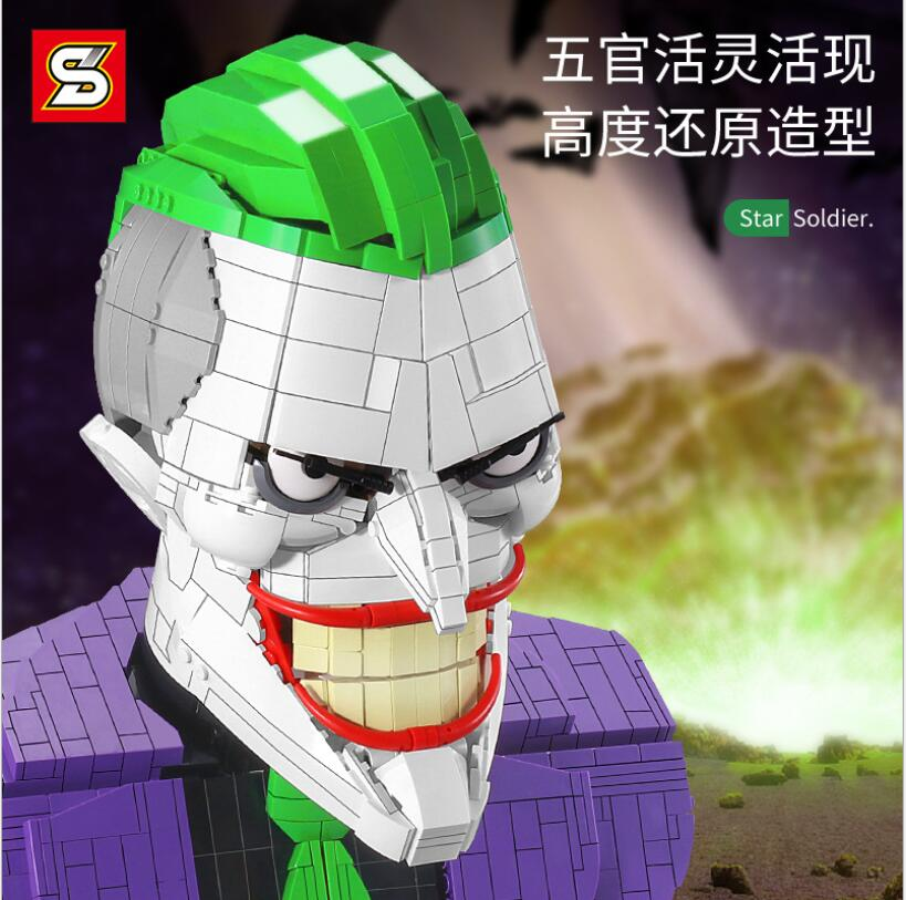 En Stock, 1478 Uds. Sy7599 Dark Knight, figura de Batman, Joker, busto de superhéroe, payaso malvado, MOC s, bloques de construcción, juguetes de regalo para chico