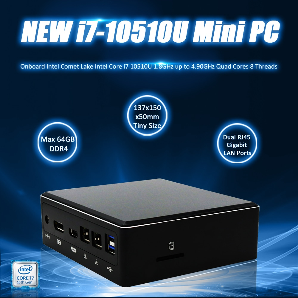 Eglobal nuevo mini pc 10th Gen Intel Core i7 10510U 4,90 GHz monstruo juego pc DDR4 64GB DP HD tipo-C USB3.0 tarjeta SD M.2 SSD computadora