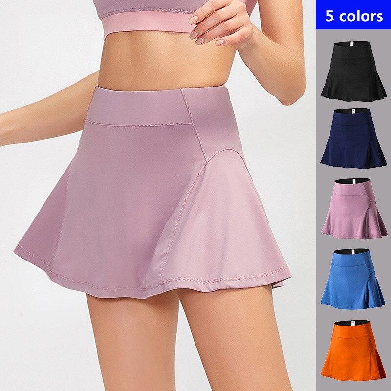 Faldas deportivas de tenis para mujer, pantalones cortos de gimnasio para Fitness, falda con bolsillo de secado rápido, pantalones deportivos de cintura alta para mujer, falda de Yoga para correr