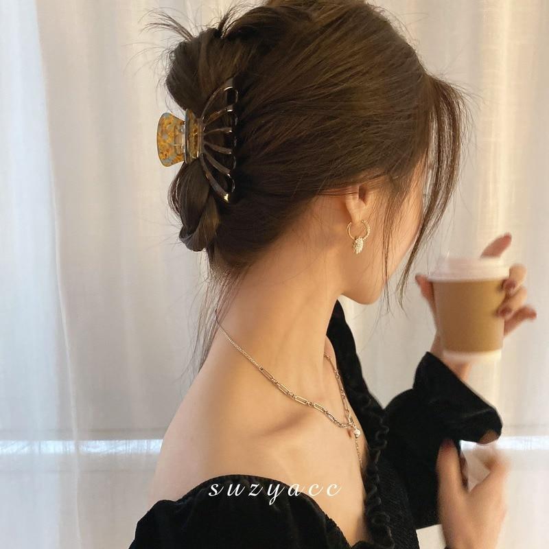 Hair Claw Acetate Hairpin South Korea Dongdaemun Mermaid Catch Gap Former Red Ins Elegant Updo French Head Clip Hair Claw