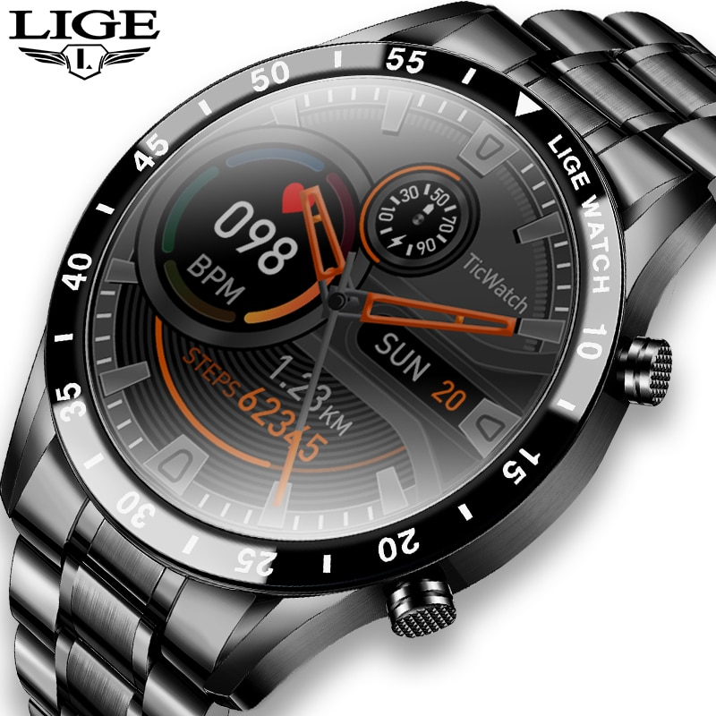 LIGE 2021 جديد ساعة ذكية الرجال كامل شاشة تعمل باللمس الرياضة اللياقة البدنية ساعة IP68 مقاوم للماء بلوتوث ل أندرويد ios smartwatch رجالي