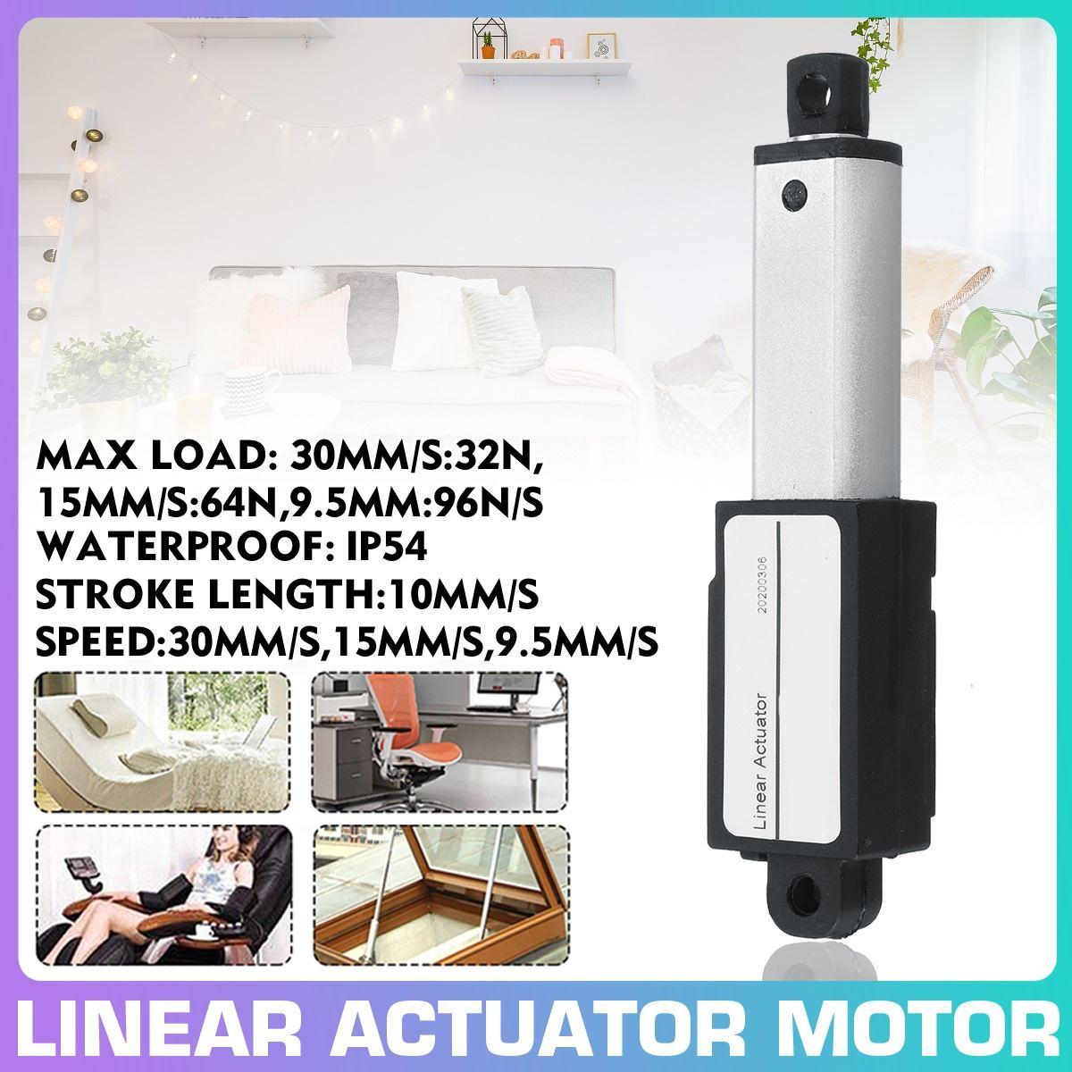 10mm aleación de aluminio de golpe activadores Micro lineales actuador lineal DC 12V eléctrico Mini Motor lineal 30 mm/s 15 mm/s 9,5mm