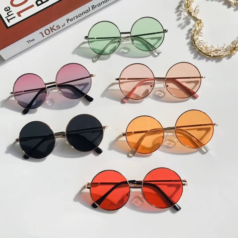Vintage Candy Color Simple Children Round Girls ANTI-UV Sunglasses Hot Boys Girls Kids Retro Cute Su
