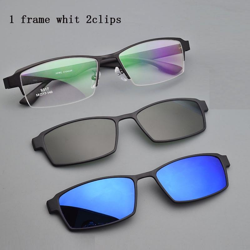 Eyeglasses Frame Alloy Male Big Belt Magnet Clip on Myopia Glasses Frame 3D Lens Polarized Sunglasse