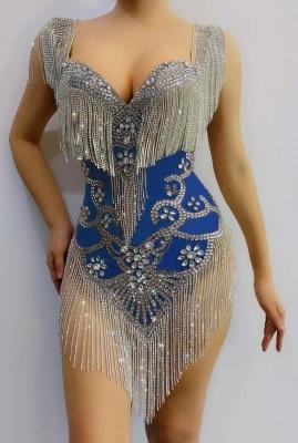 ملابس نسائية شبكية مع غرة من حجر الراين ، بدلة مثيرة ، فستان احتفال وأعياد الميلاد