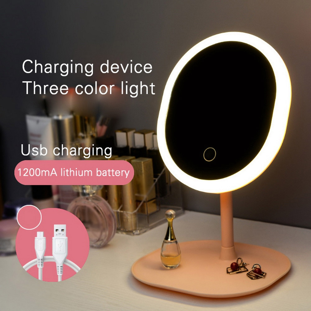 Led Makeup Mirror Touch Screen Desktop Mirror Travel Folding Professional Bathroom Vanity Beauty USB Chargeable Light Mirrors
