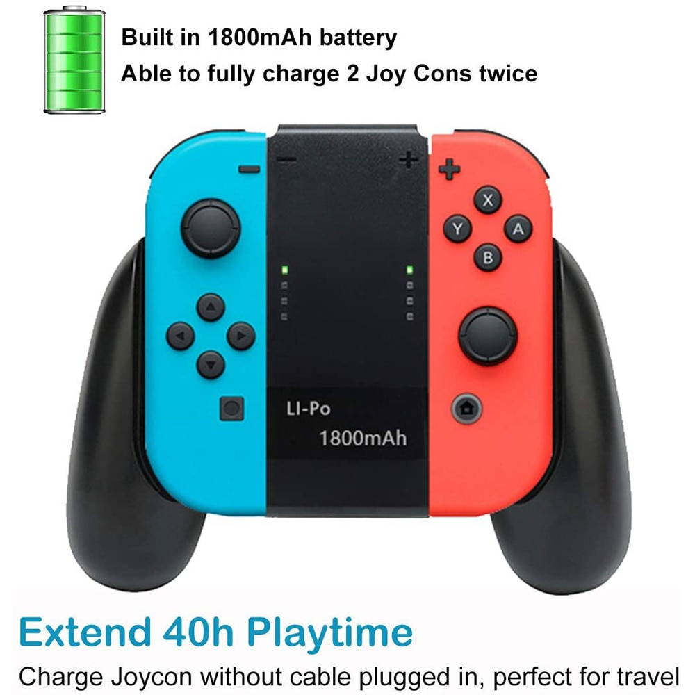 Joy Con Charging Grip with 1800mAh Battery 2-in-1 Comfort Grip for Nintendo Switch Joy-Con Controller Joycon Charger with cable