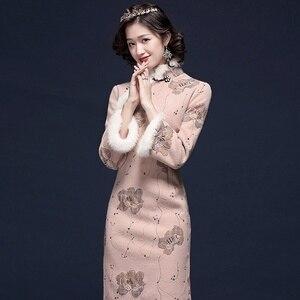 Qipao Traditional Chinese Oriental Dress Women Cheongsam Sexy Modern Chinese Dress Qi Pao Thick Female Winter Asian Dress FF2518