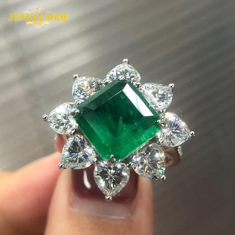 Женское кольцо с натуральным изумрудом Jewepisode, кольцо из настоящего серебра 925 пробы с бриллиантом, 10 мм