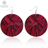 somesoor african tradition prints wooden drop earrings afrocentric ethnic bohemian styles big wood loops jewelry for women gifts