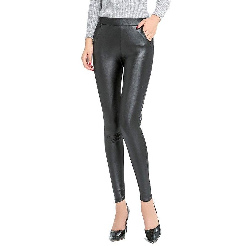 Mallas de cuero falso hasta el tobillo talla grande 5XL para mujer estiramiento Delgado cintura alta Jegging negro Pu Leggins pantalones 4 bolsillos