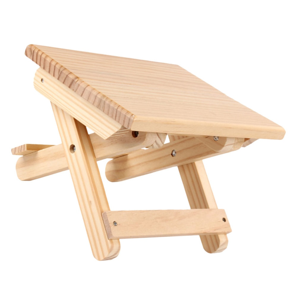 1pc Wooden Foldable Taboret Wooden Folding Stool Outdoor Fishing Chair Small Stool for Outdoor and Indoor Use (Light Yellow)