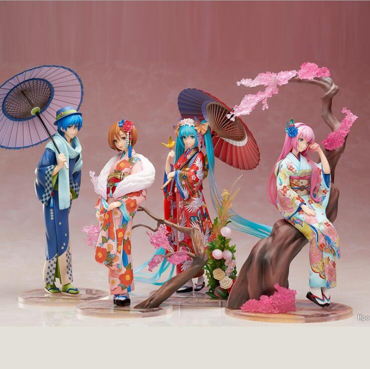 23cm Anime Hatsune Miku kimono figura de acción mediados de otoño Hatsune figura Meiko colección de muñecos de PVC figuras de juguete