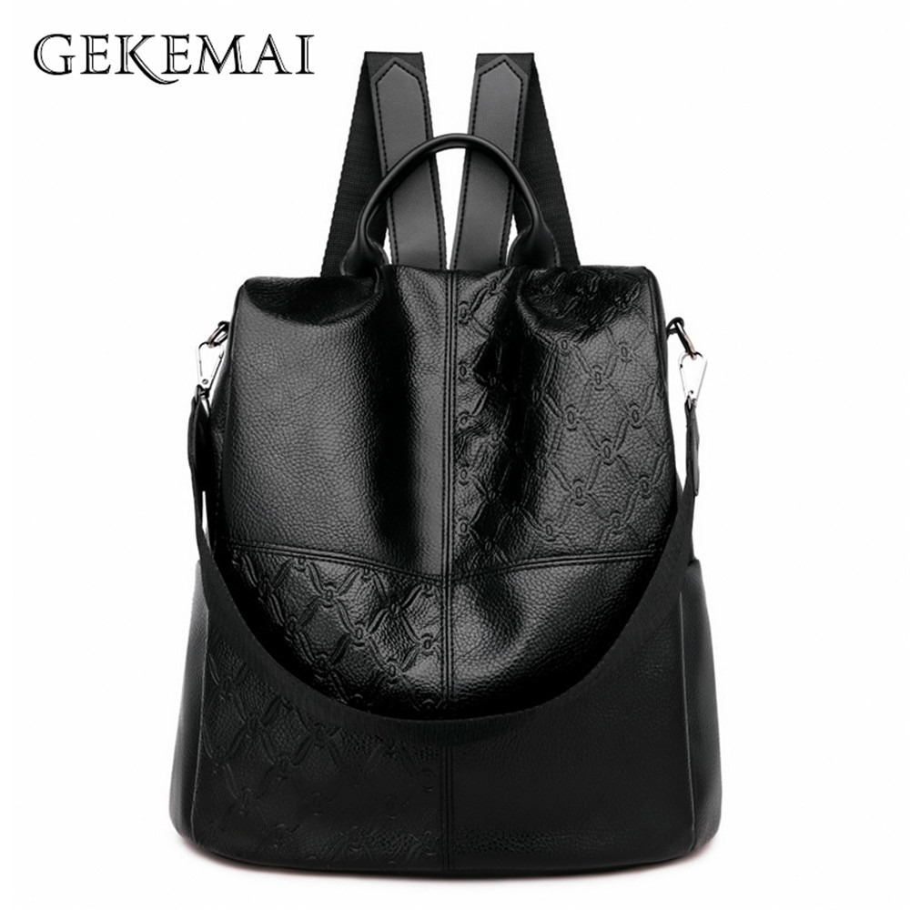 Multifunction Splice Backpacks High Quality Pu Leather Large Capacity Anti-theft Shoulder Bag Designer Vintage Female Mochilas