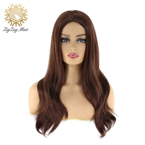 BTWTRY Dark Brown Synthetic Wig Full Machine Made None Lace Wigs Natural Wave Heat Resistant Fiber Hair for Women Daily Wear