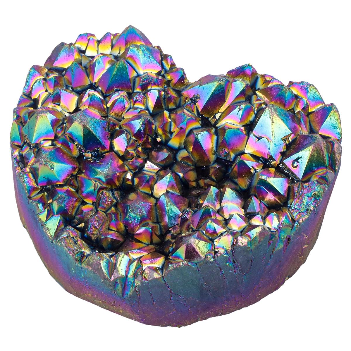 TUMBEELLUWA Heart Shape Rainbow Flame Aura Titanium Coated Natural Crystal Quartz Cluster Healing Geode Stone Specimen Figurine недорого