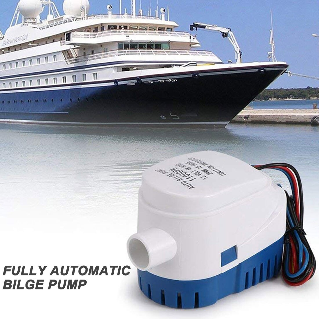 600 750 1100GPH التلقائي قارب مضخة نزح 12 فولت 24 فولت تيار مستمر غاطسة مضخة مياه كهربائية صغيرة