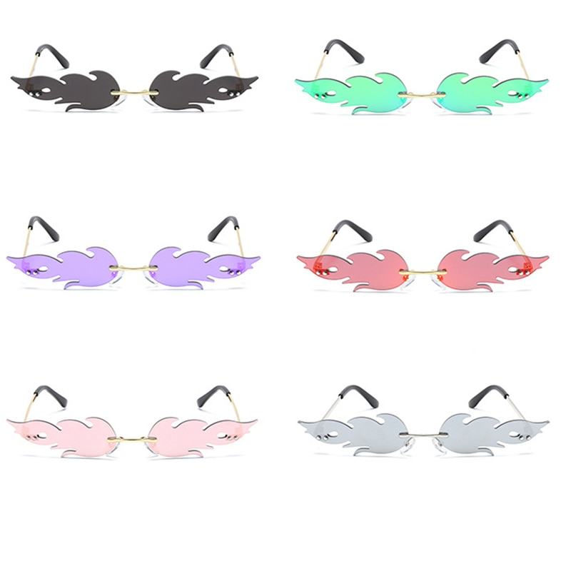 1PC Fashion Fire Flame Sunglasses Women Men Brand Design Rimless Wave Eyewear Luxury Trending Narrow