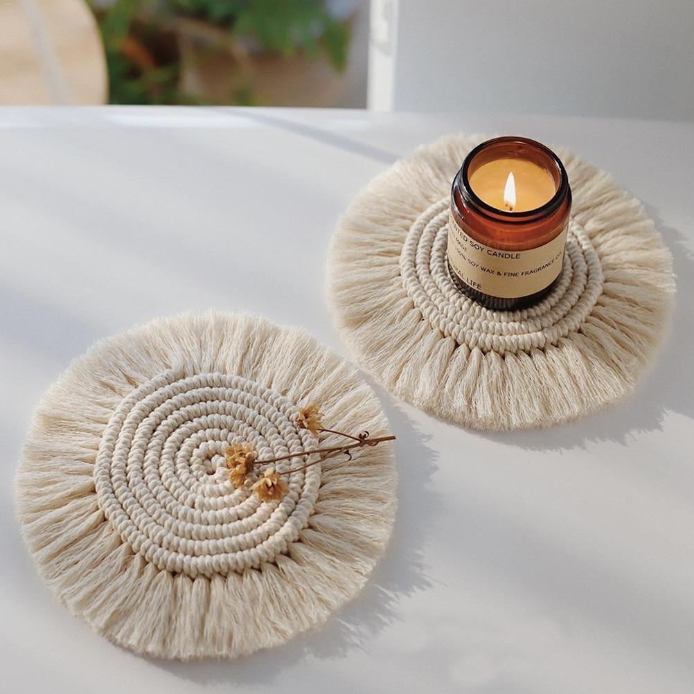 Домашняя креативная подставка ручной работы, подушка для чашки макраме в богемном стиле, нескользящий коврик для чашки