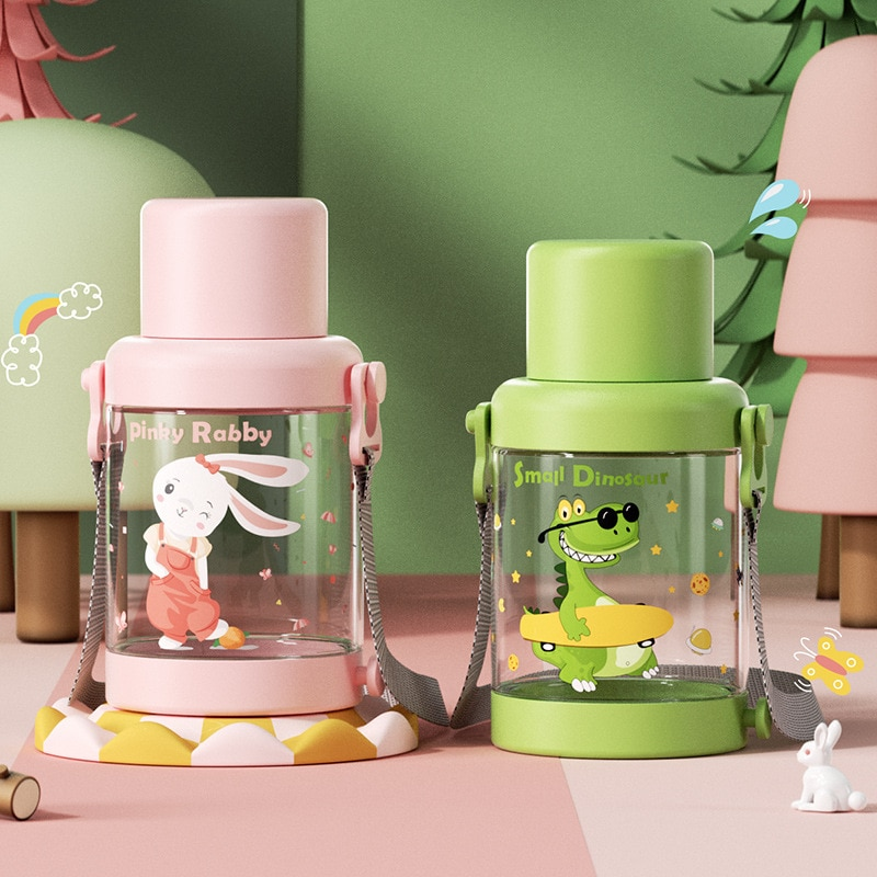 Cute Cartoon Children Water Cup 1000ml Summer Large Capacity Portable Outdoor Water Bottle Large Spo
