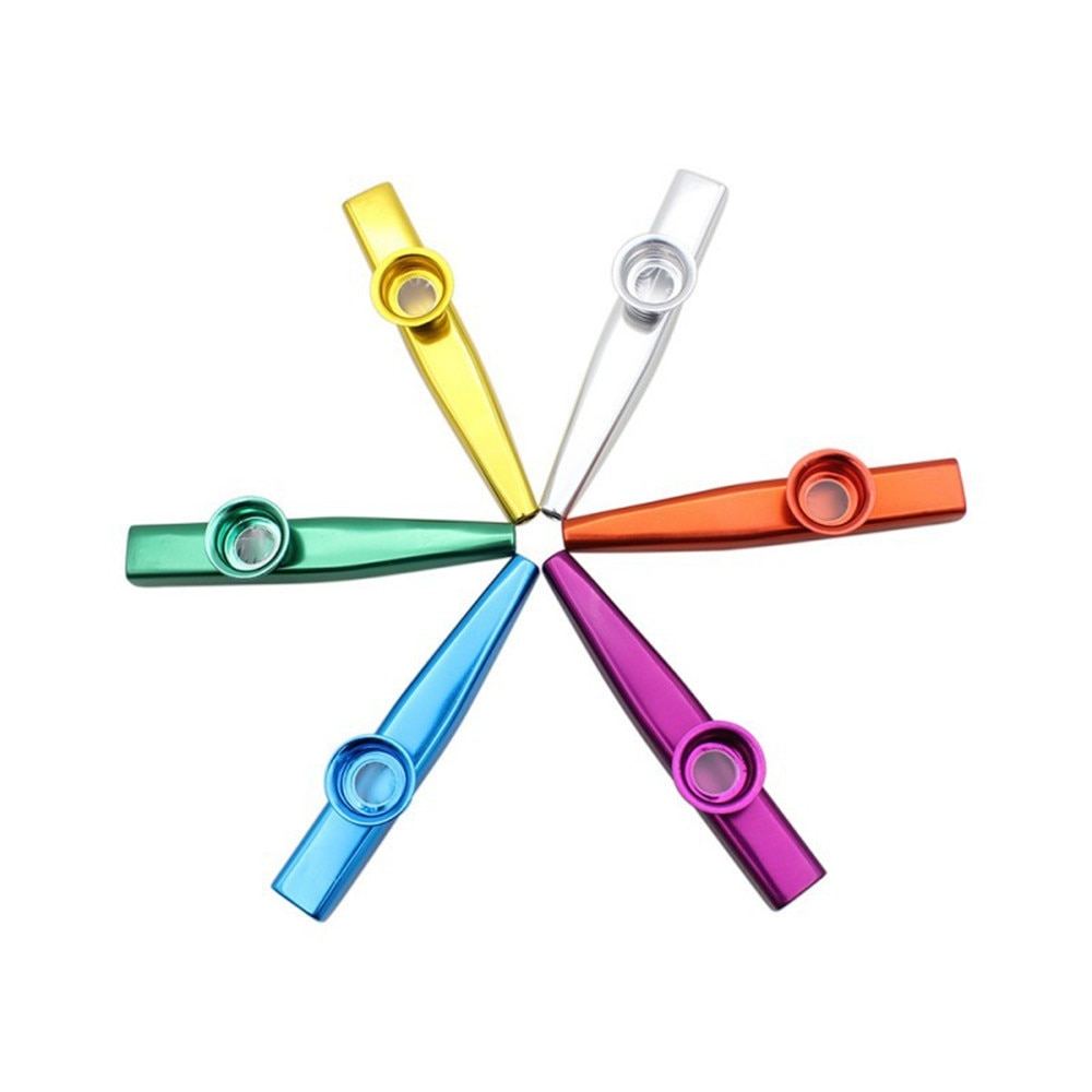 6 colores aleación de aluminio Metal Kazoo diafragma boca flauta armónica niños fiesta regalo para niños amantes de la música opcional