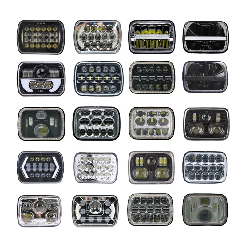"Para Jeep Cherokee XJ 7x6 ""5X7"" proyector LED faro Halo DRL faro cuadrado para jeep Cherokee XJ H6014 H6052 H6054"