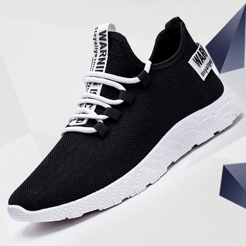 Baskets respirantes et antidérapantes à lacets pour hommes, chaussures décontractées, résistantes à l'usure, en maille d'air, 2019