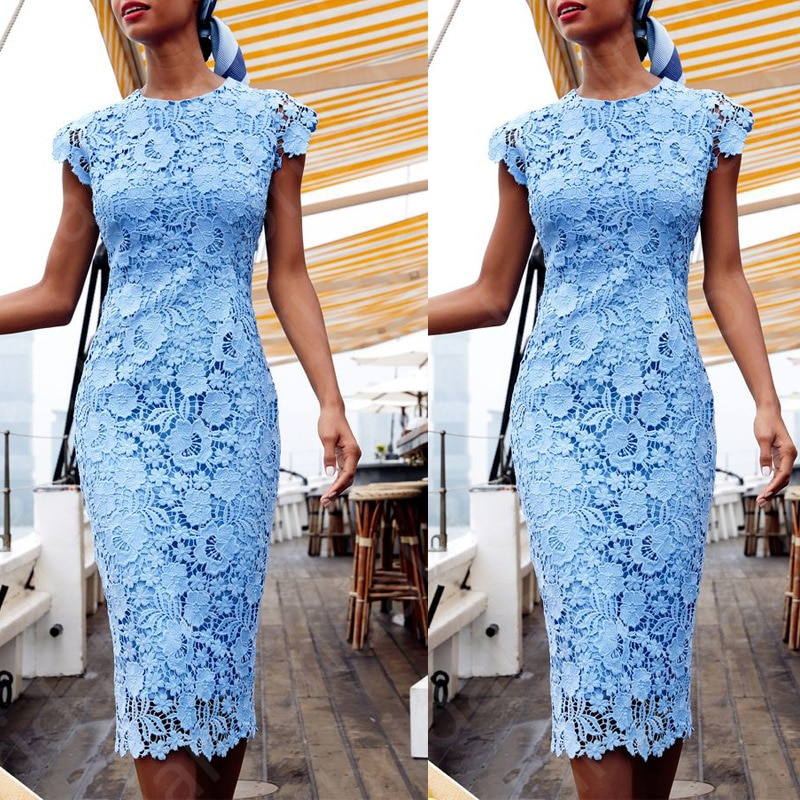 Latest Elegant Sky Blue Lace Mother of the Bride Dresses Jewel Neck Cap Sleeves Wedding Party Dresse