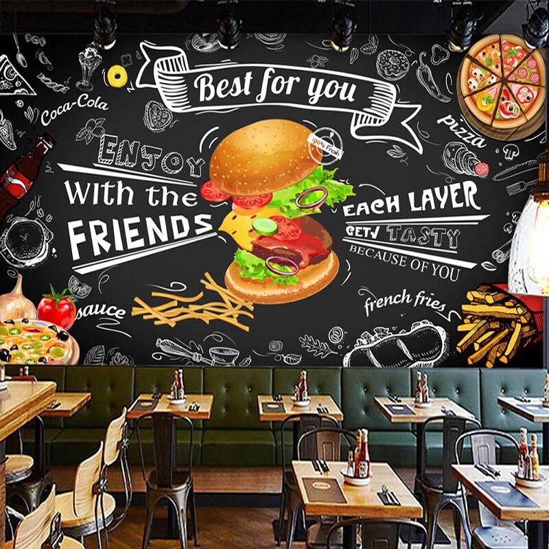 На заказ настенная бумага 3D бургер фаст-фуд Ресторан Кофейня кухня фото фон 3D настенные фрески обои Гостиная