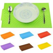 Rectangle Silicone plat séchage tapis résistant à la chaleur vaisselle vaisselle vaisselle Durable Table Pad accessoires de cuisine