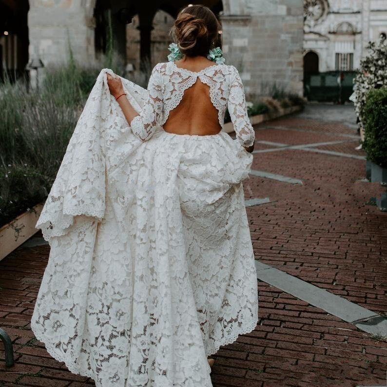 Vintage Country Style Beautiful Bohemian Lace Wedding Dresses Open Back 3/4 Sleeves Beach Plus Size Wedding Dress Bridal Gowns sexy summer beach wedding dress scoop cap sleeve side slit bridal dresses open back bohemian lace wedding dresses