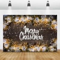 merry christmas wooden boards background pine leaves sliver balls winter snowflake pattern photography backdrop photocall poster