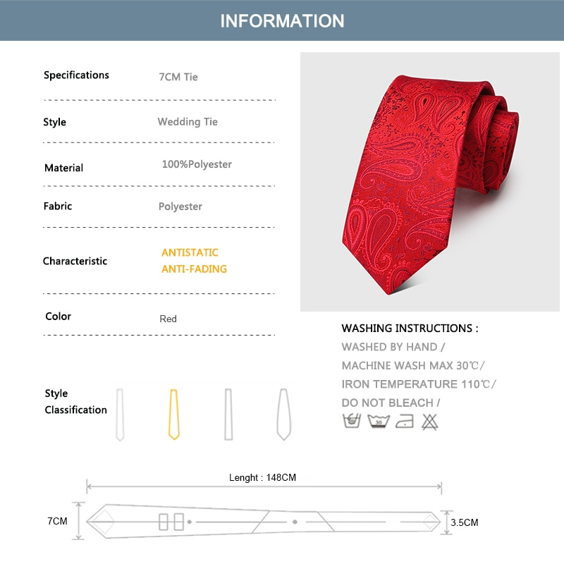 Groom Wedding Tie Red Jacquard 7CM Ties For Men Business Suit Work Necktie Mens Fashion High Quality Party Engagement Neck Tie