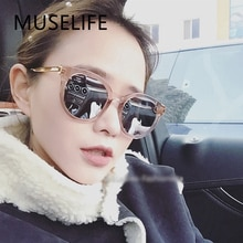 MUSELIFE Cat eye Pink Sunglasses Woman Shades Mirror Female Square Sun Glasses For Women Coating Ocu