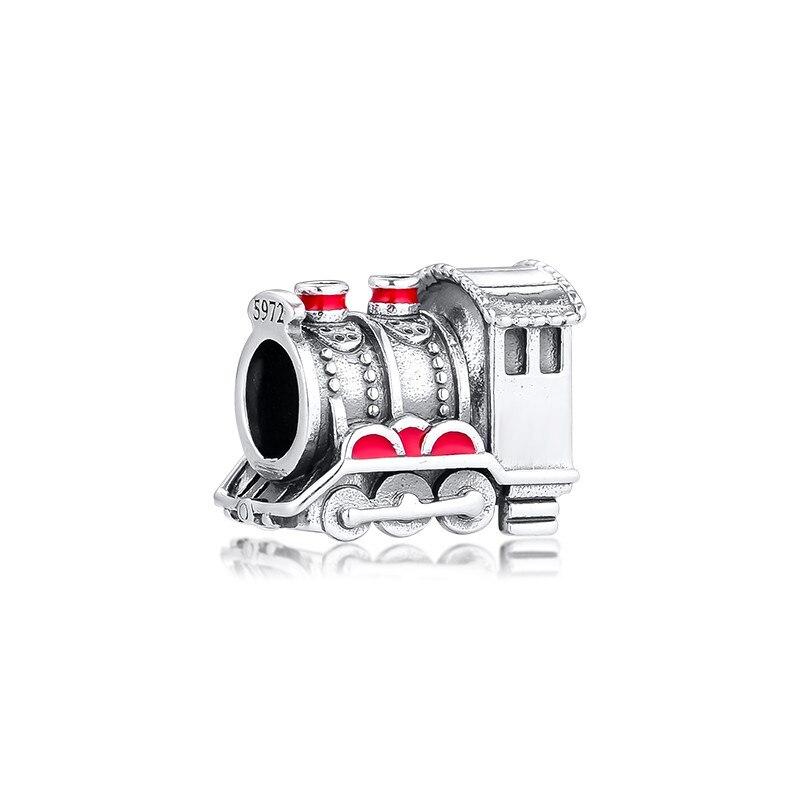 Escola de bruxaria expresso trem charme contas para fazer jóias esmalte vermelho prata 925 contas para pulseiras jóias descobertas diy